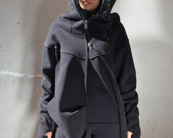Zip Up Soft Hoodie, Plus Size Hot Sweatshirt,Eco Fashion Hoodie, Long Loose Tunic,Asymmetrical Warm Poncho, Hooded Sweatshirt, Women Outwear
