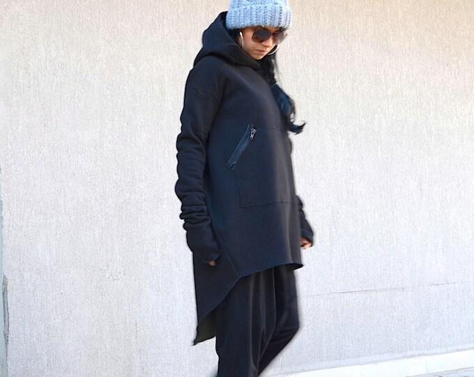 Featured listing image: Plus Size Hoodie, long sleeved hoodie, Extravagant coat, warm top, hooded top, Oversized Hoodie, black warm top, hooded coat, black hooded