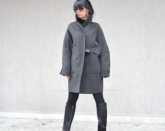 Exclusive Grey Belted  Coat, Italian High Neck Coat, Ladies Wool Jacket, Luxurious Coat, Elegant Coat, Mod Coat, Plus Size, Maternity Jacket