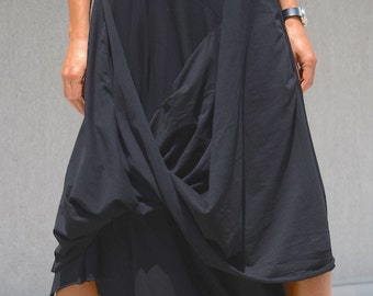 Futuristic Black Oversized Dress, Steampunk Summer Tunic, Black Maxi Dress, Avant Garde Long Dress Cotton Maxi Dress with Short Sleeves Cozy