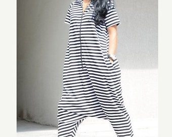 Two Sided Summer Bohemian Jumpsuit with Zipper, Comfortable Striped Romper with Pockets, Loose Fit Maternity Harem Jumpsuit with Hood, Cozy