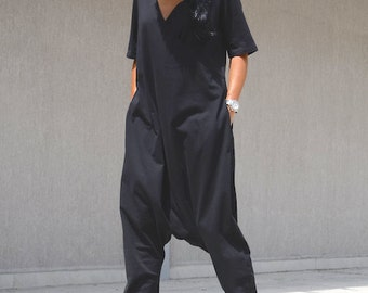 Maxi Black Jumpsuit with Short Sleeves, Two Sided Large Size Everyday Overall, Open Back Black Harem Overall with V Neck  Drop Crotch  Women