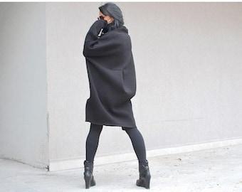 Black sweater, sweatshirt dress, black sweater dress, sweater coat, cotton sweater, women's sweatshirt, sweatshirt tunic, winter dress