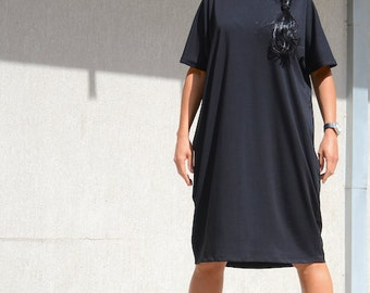 Comfortable Black Prom Dress,Little Black Dress, Short Sleeves Long Tunic,  Midi Dress Loose Tunic Dress, Classic Black Jersey Dress, Comfy