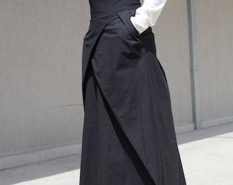 Straight Romantic Skirt, Full Length Skirt with Pockets, Black Taffeta Skirt, Black Boho Skirt, Funky Skirt, Evening Skirt, Bridesmaid Skirt