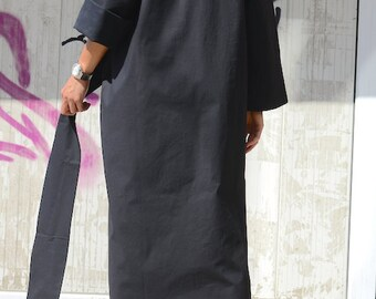 Plus size Extravagant Black Tunic, Maternity Raglan Sleeves Robe, Knee Length Black Robe, Cotton Loose Robe, Black Kimono Robe, Custom Robe