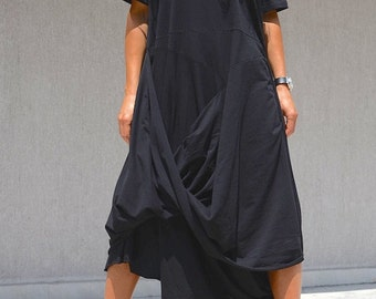 Extravagant Summer Dress, Asymmetric Plus Size Shift Dress, Bias Cut Dress, Black Evening Dress, Мidi Every Day Dress, Gothic Clothing Comfy