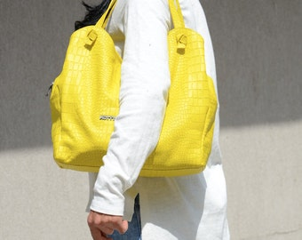 Lemon Yellow Leather Carryall, Simple Shopping Large Holdall, Genuine Leather Tote Bag with Zipper, Rustic Shoulder Leather Work Carryall