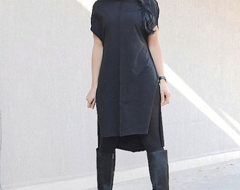 Black Asymmetrical Dress with Short Sleeves, Cowl Neck  Dress for Oversized Women, Plus Sized Mid Knee Caftan Tunic, Everyday Comfy Dress