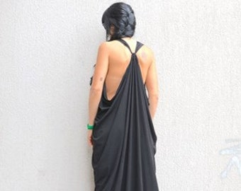 Open Back Dress Cotton, Summer Full Length Dress, Comfy Maternity Gown, Drape Cozy Dress, Fashion Dress, Aesthetic Clothing, Festival Dress