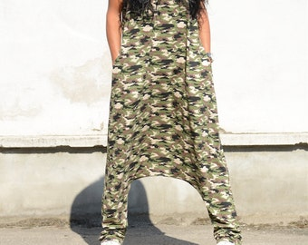 Drop Crotch Military Harem Overalls, Sleeveless Loose Fit Maxi Jumpsuits, Military Green Bohemian Jumpsuit, Tribal Festival Wear, Oversized