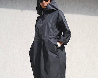 Waterproof  Jacket with Hood, Evening Jacket For Women with Pockets, Black Plus Size Swing Coat, Trending Plus Size Clothing, Trending Now