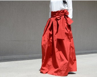 Extravagant High Fashion Cocktail Skirt with High Wast, Evening Long Red Skirt with Pockets, Floor Length Bohemian Maxi Skirt, Style Skirt