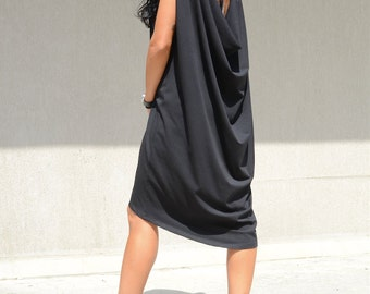 Maxi Open Back Dress Elegant, Maternity Black Tunic, Oversized Maxi Dress, Summer Knee Length Dress Fashion Black Dress Cozy Dress Elegance