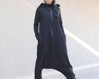 One Piece Woman Suit, Loose Sexy Jumpsuit with Hood, Plus Size Overall with Long Sleeves, Style Cotton Low Crotch Suit, Slouchy Long Overall
