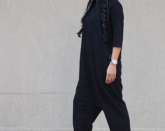 Black Loose Romper with High Neck and Raglan Sleeves, Oversize Comfortable Loose Fit Romper, Wed Leg Harem Overall, Maxi Floor Length Romper