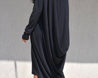 Extra Long Sleeves Caftan, High Low Maternity Dress, Black Casual Elegant Dress, Hi Low Dress, Long Elegant Robe, Fashion Black Dress, Cozy