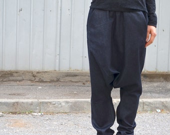 Comfy Workout Pants with Pockets, Avant Garde Black Harem Pants, ,Alladin Tribal Fusion Pants,Tribal Pattern, Harem Pants, Black Capri Pants