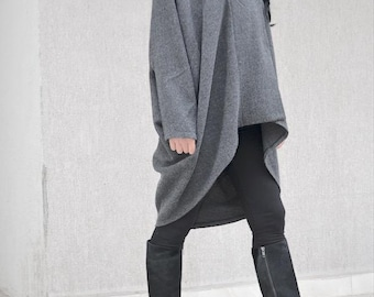Drape Design Coat, Winter Gray Jacket, Maternity Tunic, Trending Plus Size Fashion, Short Coat, Winter Cape, Cozy Jacket Quilted Coat Comfy