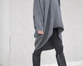 Grey drape design coat for plus size women, evening jacket, warm winter coat, party coat, oversized coat XS to XL, women's clothing