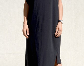 Asymmetrical Dress with Short Sleeves, Black Short Off Shoulder Sexy Dress, Mid Knee Length Designer Formal Summer Top, High Fashion Style