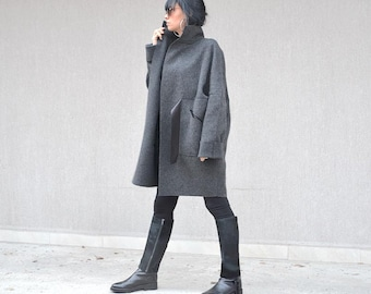 Original Fashion Wool Jacket, Hot Pocket Grey Coat, Italian Style Belted Winter Coat, Simple Coat, High Neck Coat Long Sleeve Coat Midi Coat