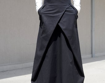 Flowy Maxi Skirt with Pocket, Evening Bridesmaid Skirt, High Waisted Skirt, High Fashion Skirt, Floor Length Skirt Cotton Skirt Large Skirt