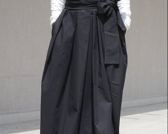 Stylish Cocktail Skirt, High Fashion Avant Garde Black Skirt, Bridesmaid Oversize Skirt, Prom Skirt, Drape Maxi Skirt, Bohemian Skirt,Hippie