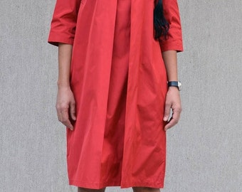 Red Fashion Midi Elbow Sleeve Evening Dress, Red Mid Knee Maxi Dress, Oversize Comfy Tunic Dress, Red Loose Short Tunic Elegant Summer Dress