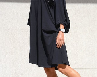 Little Black Dress with Raglan Sleeves, Mid Knee Length Maternity Black Tunic, Loose Fit Office Comfortable Dress, Summer Plus Size Dress