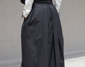 Black Avant Garde Skirt  Made from Soft Cotton, Oversize Gypsy High Waisted Skirt with Pockets, Loose Black Circle with Floor Length Skirt