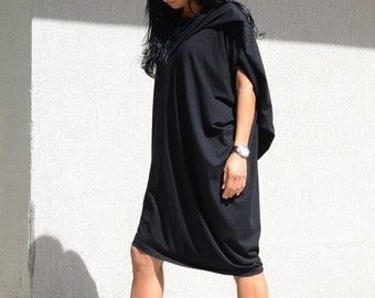 Asymmetrical Short Dress, Maxi Fall Dress Women, Plus Size Long Tunic, Casual Black Dress, Mid Length Dress, Maternity Summer Dress, Fashion
