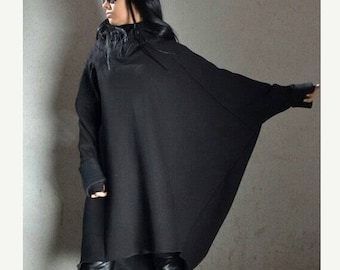 Extravagant Hoodie with Extra Long Sleeves, Asymmetric Plus Size Tunic, Black Loose Tunic Hoodie, Motherhood Maternity Jacket, Comfy Blouse