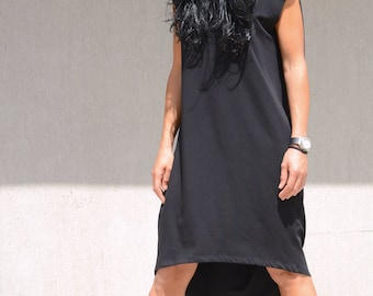 Little Black Maternity Dress, Summer Sleevless and Open Back Tunic, Short Casual Dress, Midi Knee Length, Fashion Style, Maternity Pattern