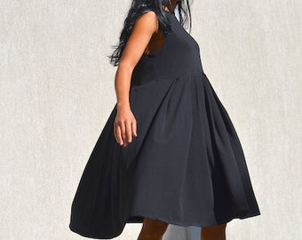 Pleated Maternity Mid Knee Cotton Dress, Sleeveless Pleated Outfit, Elegant Garden Party Dress, Black Knee Length Dress, Loose Fitting Dress