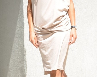 Prom Midi Tight Dress, Short Sleeve Summer Tunic, Mid Knee Oversized Tunic, Minimalist Sexy Dress, Beige Sexy Tight Dress, Ivory Maxi Gown