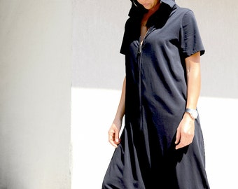 Extravagant Festival Maxi Dungarees for Women with Pockets, Floor Length Avant Gard Jumpsuit with Short Sleeves and Hood, Woman Harem Romper