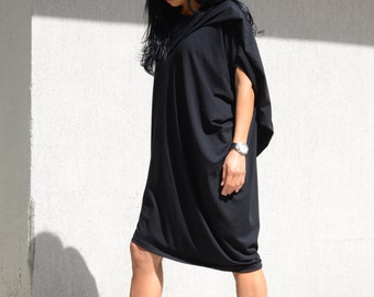 Maxi Fall Dress Women, Short Everyday Dress,Mid Length Sleeveless Dress, Asymmetrical Short Dress, Casual Black Dress, Loose Casual Tunic