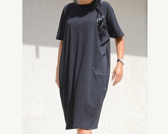 Classic Black Jersey Dress, Little Black Dress, Short Sleeves Long Tunic, Comfortable Black Prom Dress,  Midi Dress Loose Tunic Dress , Cozy