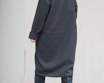 Asymmetrical Coat for Women, Amazing Long Jacket, Maternity Warm Jacket, Unique Coat, High Neck Jacket Women Black Coat Mid Knee Length Coat