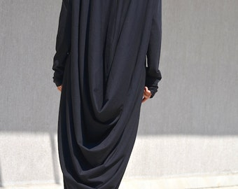 High Low Cotton Dress,Black Casual Elegant Dress, Long Sleeves Dress, Maternity Plus Size Clothing, Oversized Maxi Dress, High Low Dresses