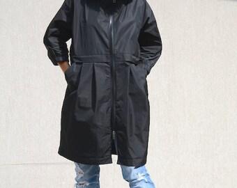 Women's Rain Jacket with Hood, Maternity Waterproof  Oversized Coat, Womens Casual Jacket with Pockets, Extravagant Loose Plus Size Jacket