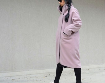 Purple Wool Coat with High Neck, Hot Pink Pocket Tunic,  Bubble Gum Pink Asymmetrical Coat, Fashion Maternity, Trending Plus Size Fashion