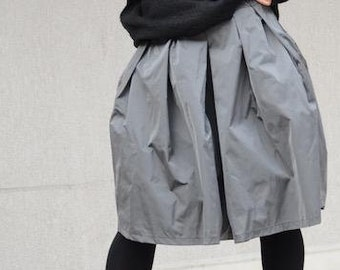 Unique Oversize Grey Knee Length Urban Skirt, Stylish Drape Cotton Winter Skirts, Modern Feminine Skirts with Pockets, Comfy Everyday Skirts