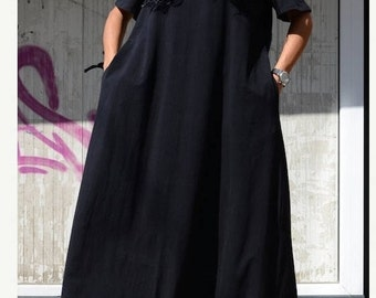 Bohemian Black Cotton Dress, Loose Fit Summer Caftan, Plus Size Patterns, Trending Plus Size Fashion, Urban Clothing, Slouchy Clothing Cozy