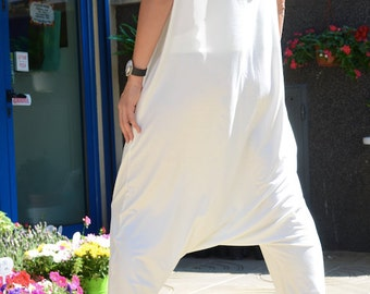 White jumpsuit, woman loose suit, plus size low crotch jumpsuit, maxi summer clothing, plus size drop crotch jumpsuit, fashion clothing