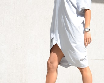 Asymmetric loose Dress with V Neck, Mid length Sleeves Tunic, Cotton Light Grey Dress for Oversized Women, Stylish Plus Size, Mid Knee Tunic