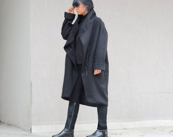 Winter Comfy Coat for Women, Asymmetrical Zipped Coat, Black Loose Jacket with Pockets, Winter Wool Midi Coat, Trending Plus Size Fashion