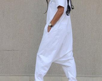 White harem pants, casual pants, extravagant pants, loose pants, drop crotch, KOTYTO clothing, loose jumpsuit, KOTYTO, off white jumpsuit