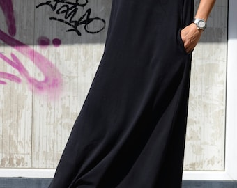 Dubai Plus Size Black Kaftan Dress with Floor Length, Extravagant Maternity Caftan with Pockets, Long Formal Summer Dress with Short Sleeves
